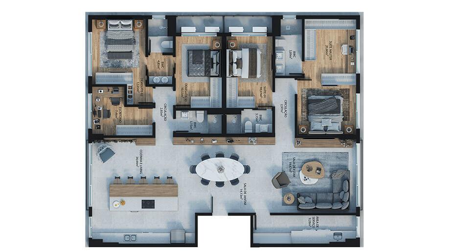 4 dormitórios (sendo 2 suítes e 2 demi-suítes) - 188m²