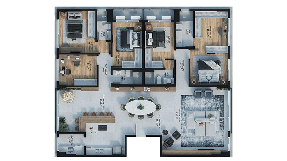 4 dormitórios (sendo 3 suítes + 1 dormitório) - 188m²