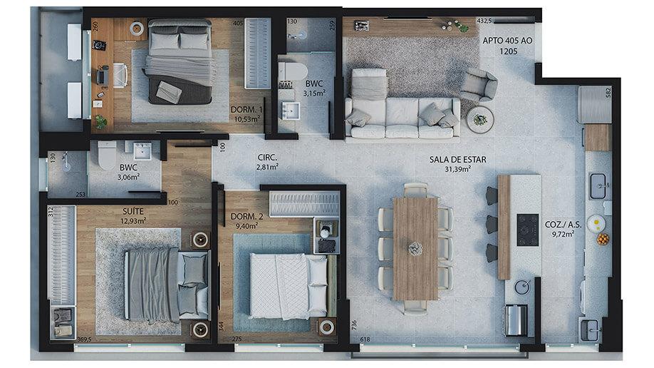 3 dormitórios (sendo 1 suíte) - 94,37m²