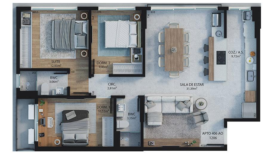 3 dormitórios (sendo 1 suíte) - 94,39m²